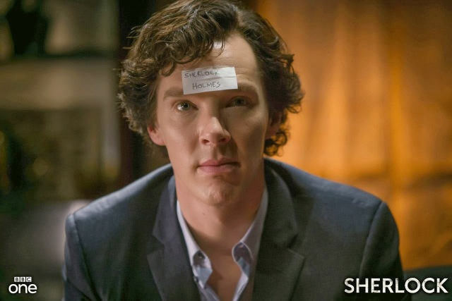 Benedict Cumberbatch as drunk Sherlock Holmes in BBC Sherlock Season 3 Episode 2 The Sign of Three